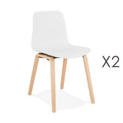 Lot de 2 chaises 44,5x52,5x81 cm blanches et pieds naturels - NELSON