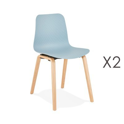 Lot de 2 chaises 44,5x52,5x81 cm bleues et pieds naturels - NELSON
