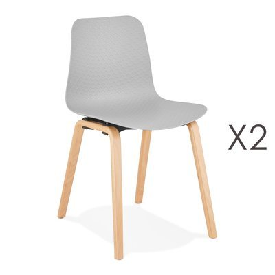 Lot de 2 chaises 44,5x52,5x81 cm grises et pieds naturels - NELSON