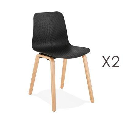 Lot de 2 chaises 44,5x52,5x81 cm noires et pieds naturels - NELSON