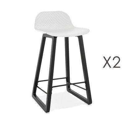 Lot de 2 tabourets de bar H67 cm blanc et pieds noirs - RIZZO