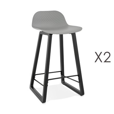 Lot de 2 tabourets de bar H67 cm gris et pieds noirs - RIZZO
