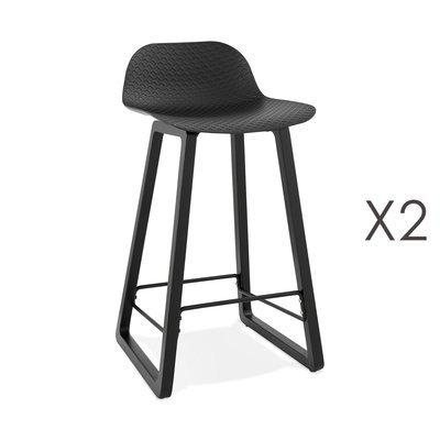 Lot de 2 tabourets de bar H67 cm noir et pieds noirs - RIZZO