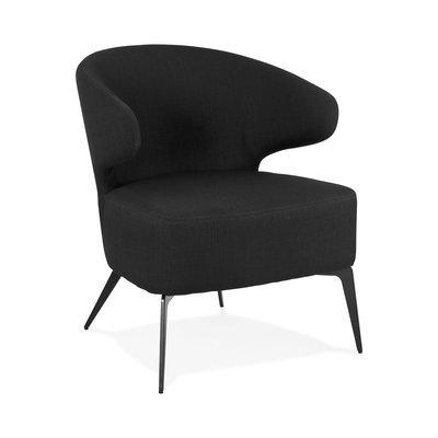 Fauteuil design en tissu noir et pieds en métal noir - JODDY