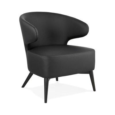 Fauteuil design en PU noir et pieds noirs - JODDY