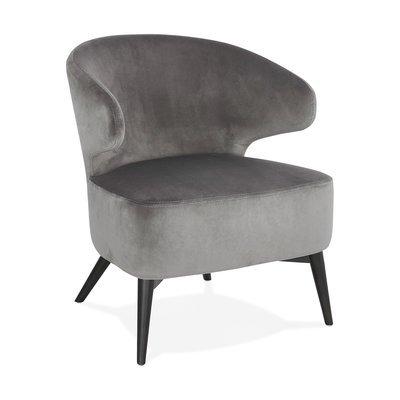 Fauteuil design en velours gris et pieds noirs - JODDY