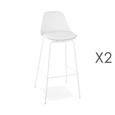 Lot de 2 tabourets de bar H75 cm blanc - ADRYA