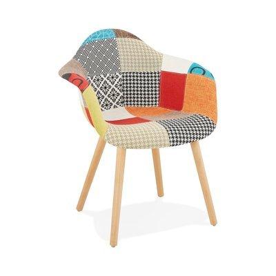 Fauteuil 62x50x80 cm en tissu patchwork et pieds naturels - IDRIS