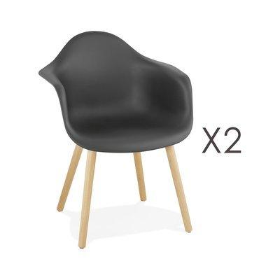 Lot de 2 fauteuils 62x50x80 cm noirs et pieds naturels - IDRIS