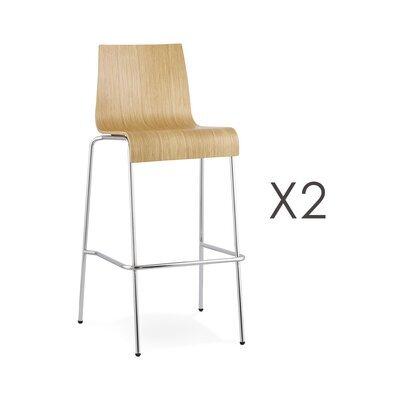 Lot de 2 tabourets de bar design H74cm naturels - COBA