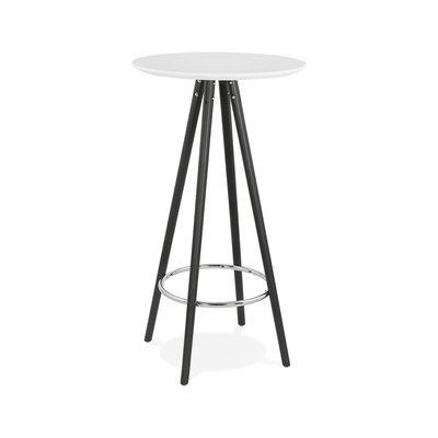 Table de bar ronde 60 cm en hêtre blanc et noir - BALTIC