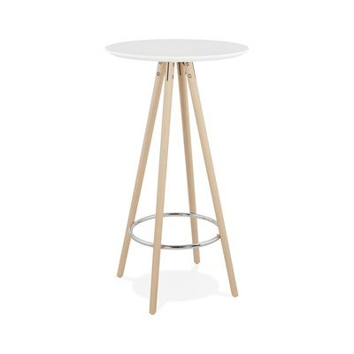 Table de bar ronde 60 cm en hêtre blanc et naturel - BALTIC