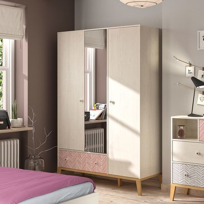 Armoire 3 portes et 1 tiroir décor chêne clair et corail - LIANA