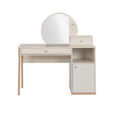 Bureau et surmeuble décor chêne clair et gris - LIANA
