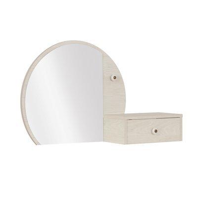 Surmeuble avec miroir et 1 tiroir décor chêne clair - LIANA