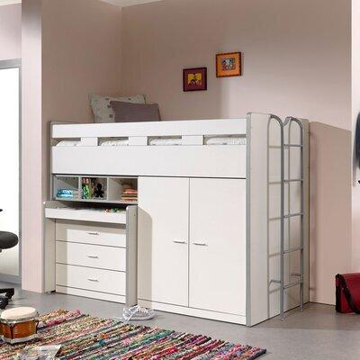 Lit combiné 90x200 cm avec rangements et bureau blanc - ASSIA