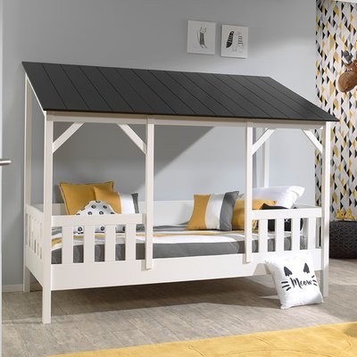 Lit cabane 90x200 cm avec sommier et matelas et toit noir - HUTTY
