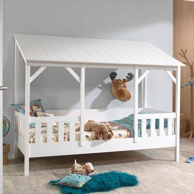 Lit cabane 90x200 cm avec sommier et matelas et toit blanc - HUTTY