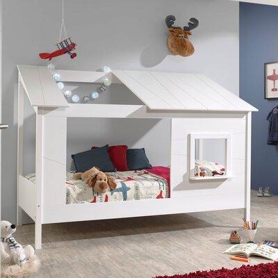 Lit cabane 90x200 cm avec sommier et matelas blanc - HUTTY