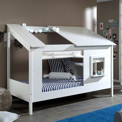 Lit cabane 90x200 cm avec rideau de fenêtre blanc - HUTTY