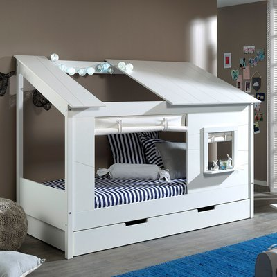 Lit cabane 90x200 cm avec rideau de fenêtre et tiroir blanc - HUTTY