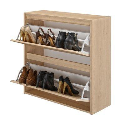 Meuble à chaussures 2 abattants 86x31x84 cm décor chêne - ENZI