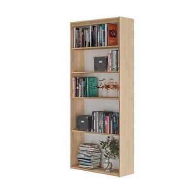 Bibliothèque 5 niches 85x30x197 cm décor chêne - ENZI