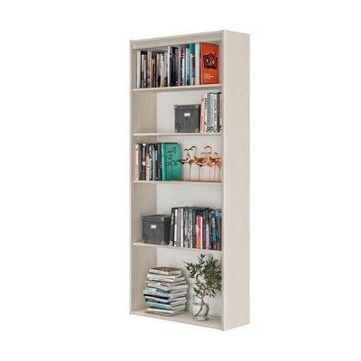 Bibliothèque 5 niches 85x30x197 cm décor chêne clair - ENZI