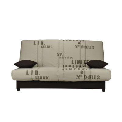 Banquette-lit clic-clac 130 cm matelas 11 cm motif fabric