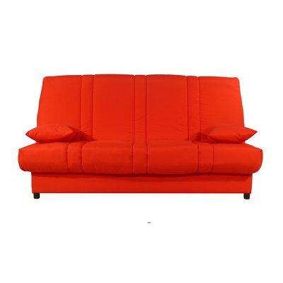Banquette-lit clic-clac 130 cm matelas 11 cm uni rouge