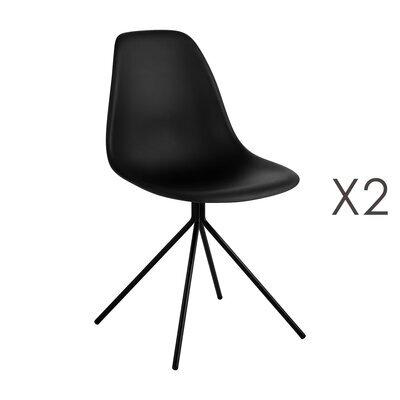 Lot de 2 chaises repas noires et pieds en métal noir - LUCIE