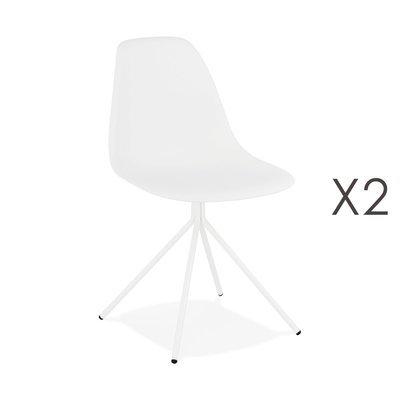 Lot de 2 chaises repas noires et pieds en métal blanc - LUCIE