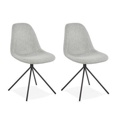 Lot de 2 chaises 46x50x84 cm en tissu gris et métal noir - LUCIE