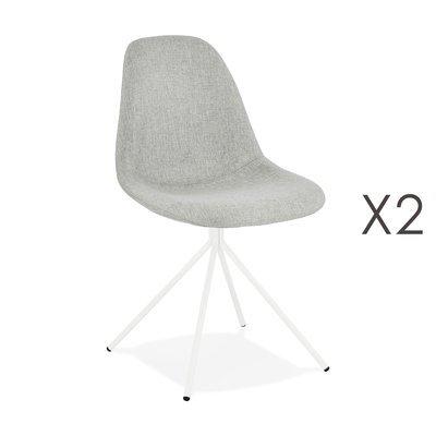 Lot de 2 chaises 46x50x84 cm en tissu gris et métal blanc - LUCIE