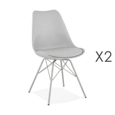 Lot de 2 chaises repas en PU et métal gris clair - LUCIE