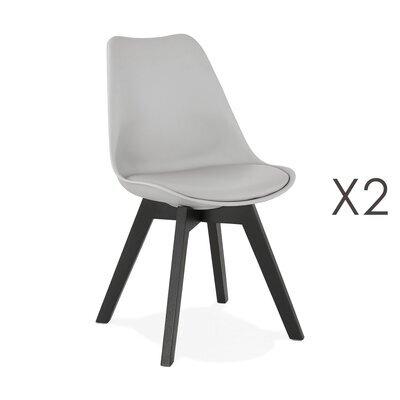 Lot de 2 chaises repas grises et pieds noirs - SARAH