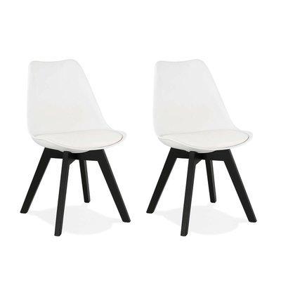 Lot de 2 chaises repas blanches et pieds noirs - SARAH