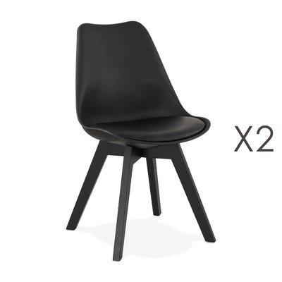 Lot de 2 chaises repas noires et pieds noirs - SARAH