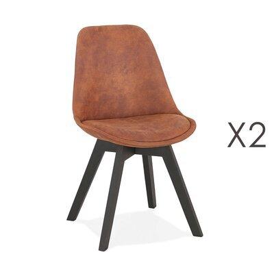 Lot de 2 chaises repas en tissu marron et pieds noirs - SARAH
