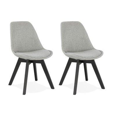 Lot de 2 chaises repas en tissu gris clair et pieds noirs - SARAH