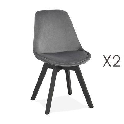 Lot de 2 chaises repas en tissu gris et pieds noirs - SARAH