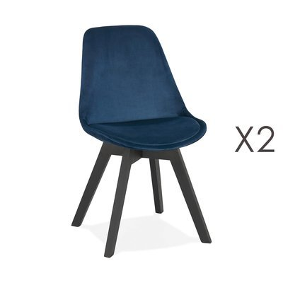 Lot de 2 chaises repas en tissu bleu et pieds noirs - SARAH