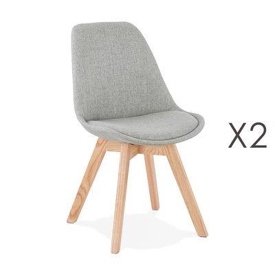 Lot de 2 chaises repas en tissu gris clair et pieds naturels - SARAH