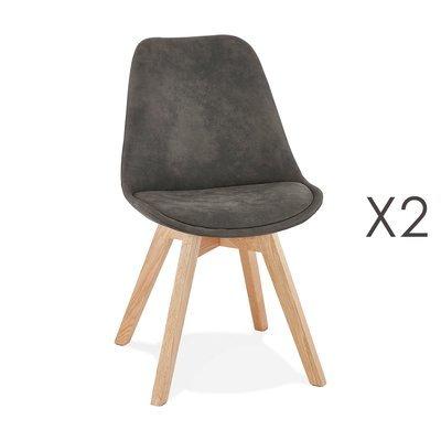 Lot de 2 chaises repas en tissu gris foncé et pieds naturels - SARAH