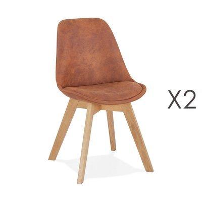 Lot de 2 chaises repas en tissu marron et pieds naturels - SARAH