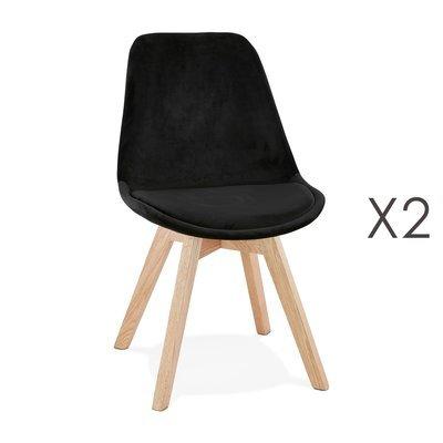 Lot de 2 chaises repas en tissu noir et pieds naturels - SARAH