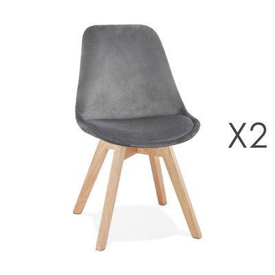 Lot de 2 chaises repas en tissu gris et pieds naturels - SARAH