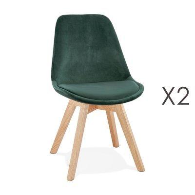 Lot de 2 chaises repas en tissu vert et pieds naturels - SARAH