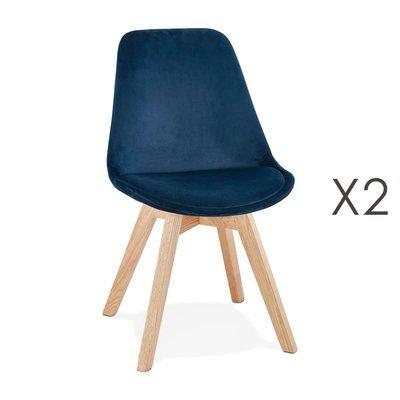 Lot de 2 chaises repas en tissu bleu et pieds naturels - SARAH
