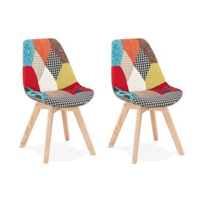 Lot de 2 chaises repas en tissu patchwork et pieds naturels - SARAH